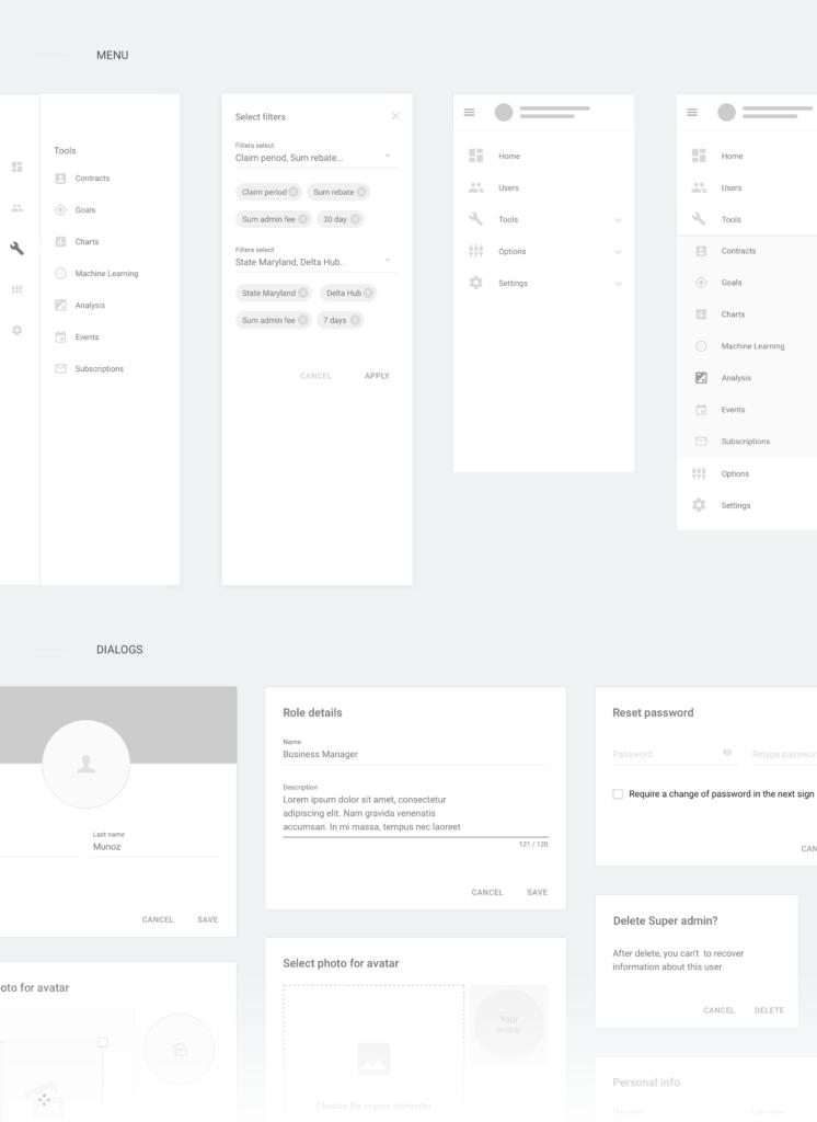 Material dashboard wireframe kit Vadim Zaycev